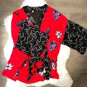 Topshop Silk Floral Kimono
